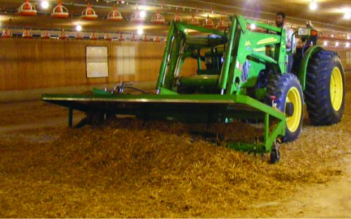Tractor with loader mounted rotary fork in a pountry barn